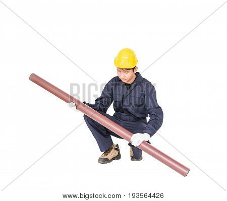 Young Plumber  Holding Pvc Pipe