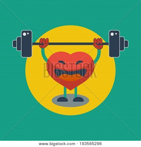 Strengthening heart muscle. Healthy way of life. Heart raises bar. Vector graphic design