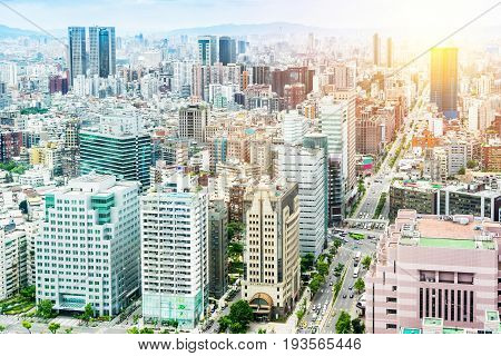 Asia Business concept for real estate and corporate construction - panoramic modern cityscape building bird eye aerial view with World Trade Center in morning blue bright sky in Taipei 101 Taiwan