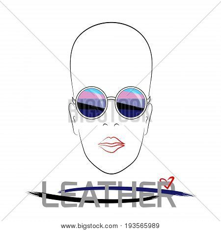 Stylized face with glasses using original colors for gay parade. Text Leather. Unconventional sexual orientation. Vector design