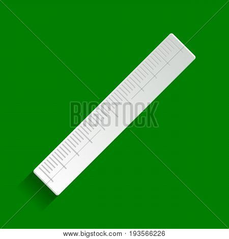 Centimeter ruler sign. Vector. Paper whitish icon with soft shadow on green background.