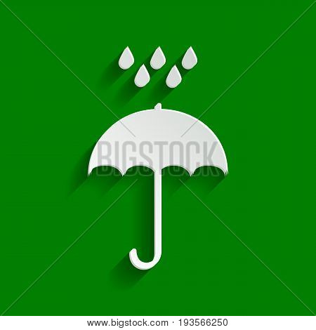 Umbrella with water drops. Rain protection symbol. Flat design style. Vector. Paper whitish icon with soft shadow on green background.