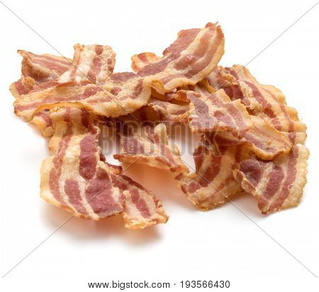 cooked crispy slices of bacon isolated on white background