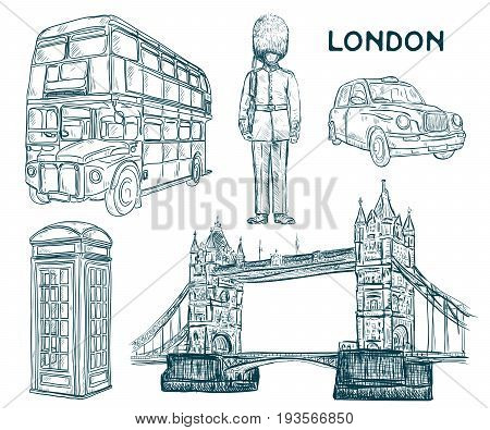 London landmark symbols in sketch style. Isolated elements. Vintage hand drawn vector illustration.