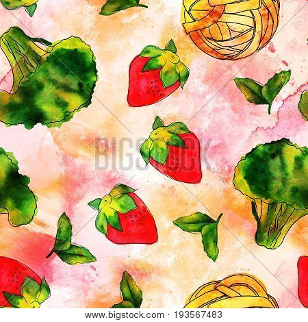 A seamless pattern of watercolour and ink vegan food themed drawings. Leaves of mint, strawberry, broccoli sprout, and pappardelle pasta nest, hand painted on a pink and yellow background