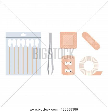 first aid kit, cotton swabs, tweezer, bandage, plaster adhesive tape in flat design vector