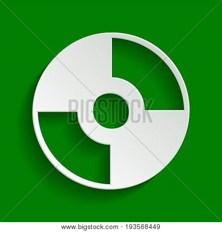Vector CD or DVD sign. Vector. Paper whitish icon with soft shadow on green background.