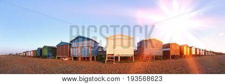 Beach huts on beach