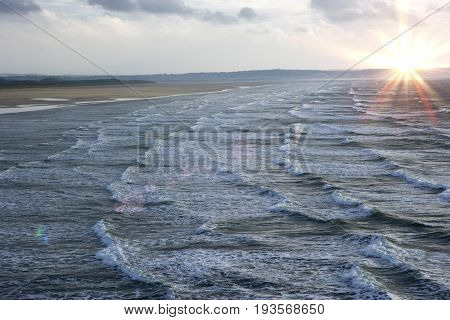 Waves on beach, elevated view