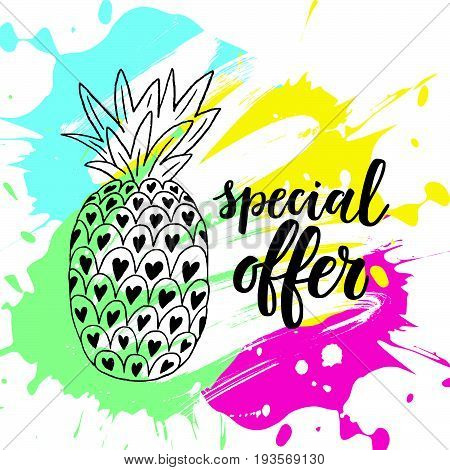 Special Offer Sale Banner On The Abstract Ink Background.