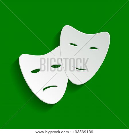Theater icon with happy and sad masks. Vector. Paper whitish icon with soft shadow on green background.