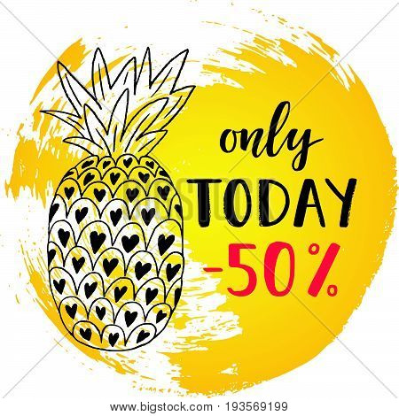 Special offer Sale banner on the abstract ink background. Special offer lettering. Hand drawn pineapple. Colorful tropical fruit. Vector illustration