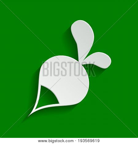 Radish simple sign. Vector. Paper whitish icon with soft shadow on green background.