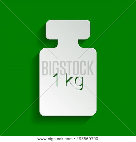 Weight simple sign. Vector. Paper whitish icon with soft shadow on green background.