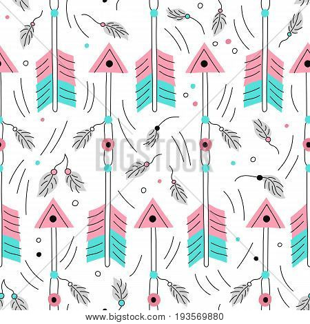 Vector arrow seamless pattwern. Cute archery elements. Traditional background. Hand drawn native american wallpaper