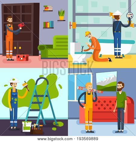 Home renovation concept 4 flat icons square with plumbers in bathroom and workman painting wall isolated vector illustration