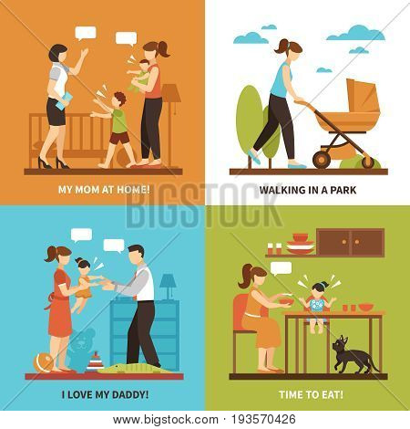 Nanny concept icons set with children and walking symbols flat isolated vector illustration