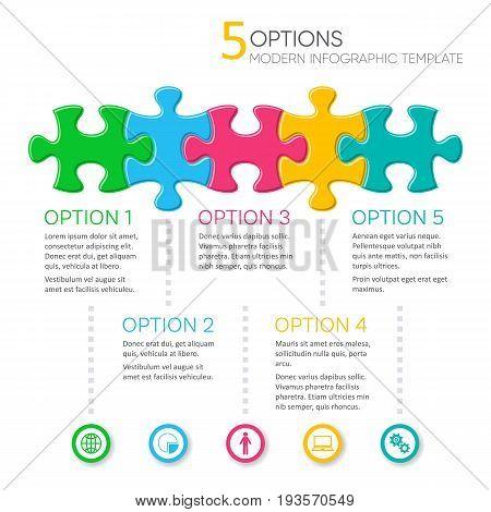 Five options modern infographic presentation template vector illustration