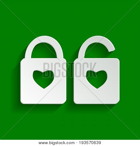lock sign with heart shape. A simple silhouette of the lock. Shape of a heart. Vector. Paper whitish icon with soft shadow on green background.