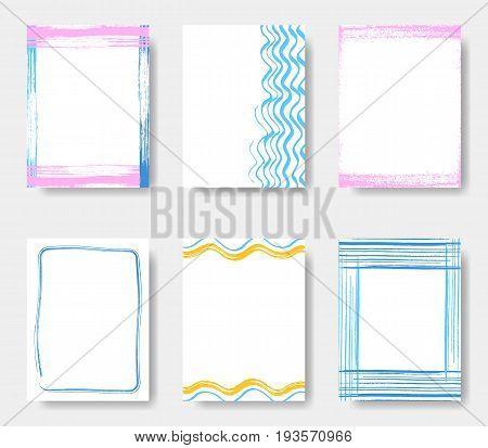 Beautiful vector journal card frames summer collection
