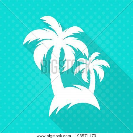 White vector palm trees flat icon turquoise background