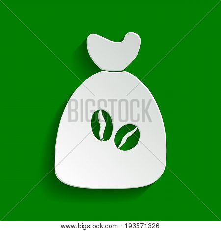 Coffee bag Icon. Coffee bag. Vector. Coffee bag Icon Button. Vector. Paper whitish icon with soft shadow on green background.