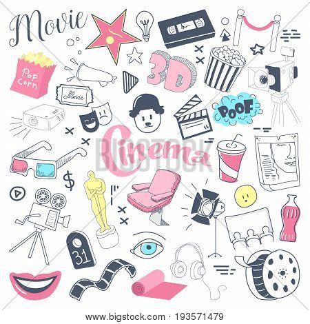 Cinema TV Hand Drawn Doodle with Glasses, Film Reel and Pop Corn. Filmmaking Freehand Elements Set. Vector illustration