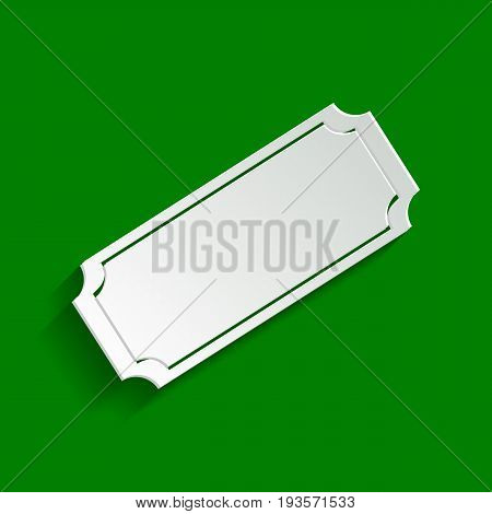 Ticket sign illustration. Vector. Paper whitish icon with soft shadow on green background.