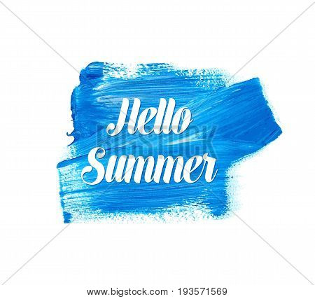 White hello summer lettering on blue watercolor stain