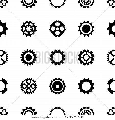 Minimalist black vector seamless pattern different gear wheels