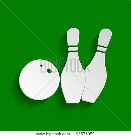 Bowling sign illustration. Vector. Paper whitish icon with soft shadow on green background.