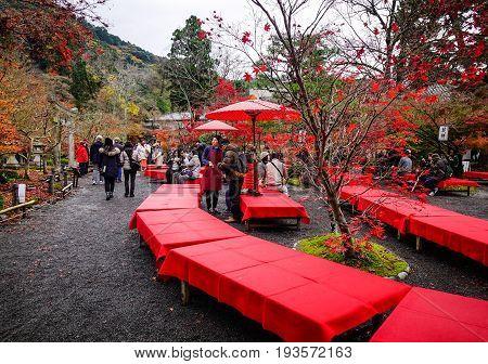 People At Eikando Shrine In Kyoto, Japan