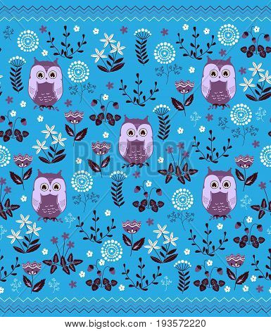 Cute colorful floral seamless pattern with owls. Design for bed linen blankets wrapping paper and other. Vector illustration