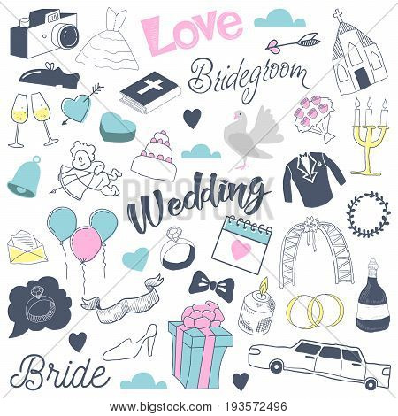 Freehand Wedding Hand Drawn Doodle with Bride, Hearts and Romantic Elements. Love and Romance. Vector illustration