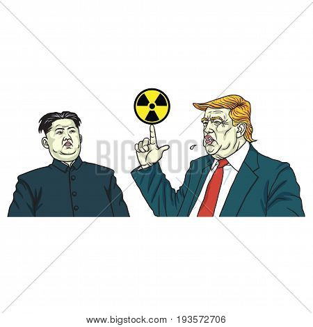 Donald Trump and Kim Jong-un Portrait Vector with Nuclear Sign. July 3, 2017