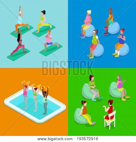 Isometric Pregnant Woman Aqua Aerobics, Fitness and Yoga. Healthy Lifestyle. Vector flat 3d illustration