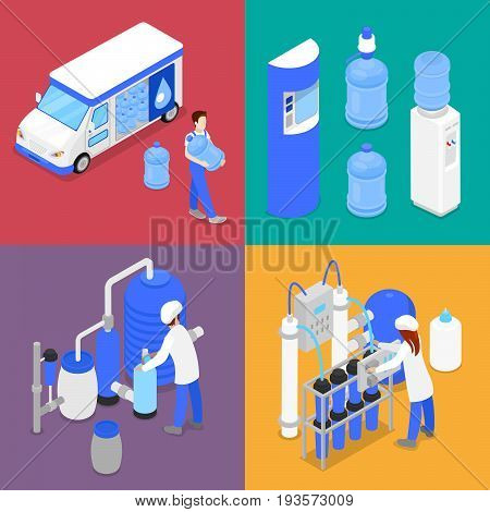 Isometric Water Purification Factory. Courier with Bottle of Clean Water. Vector flat 3d illustration