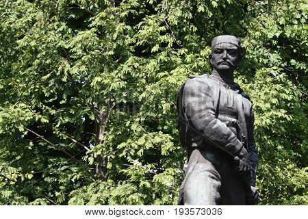 Belgrade: june 23. 2017 - Statue of Vasilije Vasa Carapic in Belgrade, known as the Dragon from Avala was Serbian military commander that participated in the First Serbian Uprising of the Serbian Revolution