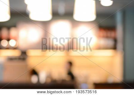 Blurred image of cafe interior for background
