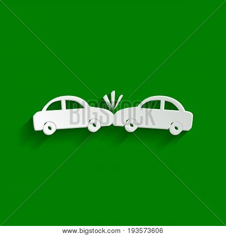 Crashed Cars sign. Vector. Paper whitish icon with soft shadow on green background.
