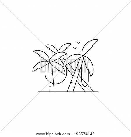 Jungle vector thin line icon. Palm forest with lianas, isolated symbol. Logo template, element for travel agency products, tour brochure, excursion banner. Simple mono linear modern design.