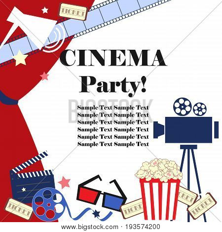 Cinema event background. Flat movie background with cinema attributes. Film strip camera reel masks popcorn and 3D glasses