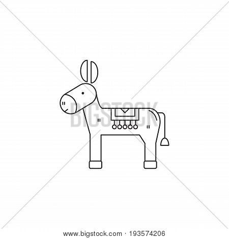 Donkey vector thin line icon. Black on white isolated symbol. Logo template for riding tour, element for travel agency products, tour brochure, excursion banner. Simple mono linear modern design.