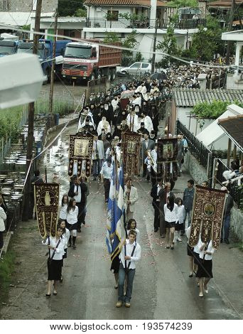 Faithful pilgrims honor memory of St. John the Russian. The festivities were attended by bishops priests local authorities and thousands of believers from around the world. May 27 2005 - Prokopi, Evia, Greece