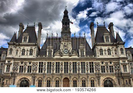 Facade of City Hall of Paris, France