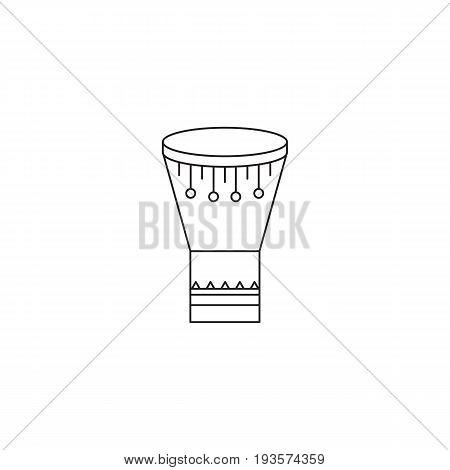 Goblet drum vector thin line icon. Isolated symbol. Logo template for ethnographic tour, element for travel agency products, tour brochure, excursion banner. Simple mono linear modern design.