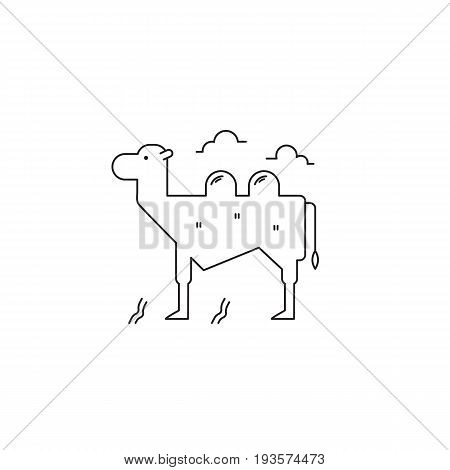 Camel vector thin line icon. Black on white isolated symbol. Logo template for riding tour, element for travel agency products, tour brochure, excursion banner. Simple mono linear modern design.
