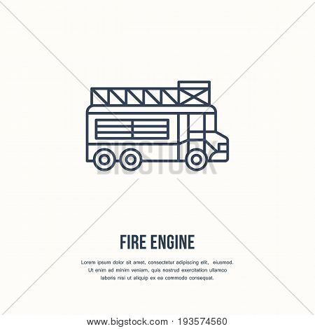 Fire engine flat line sign. Flame protection thin linear icon, pictogram. Firefighters car vector isolated on white background.
