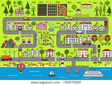Background of a lively city with houses streets an amusement park cars suburbs. Design for baby mats, games and other