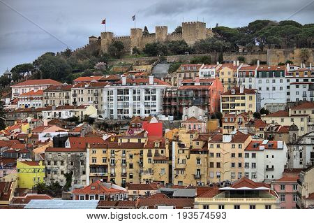 Panoramic view of Lisbon with Saint George Castle. Portugal